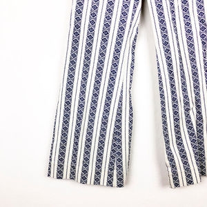 Ecote Pants - ecote White and Blue Bell Bottom High Waist Pants